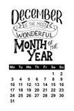 Vector calendar for December 2018. Hand drawn lettering quotes for calendar design Stock Photos
