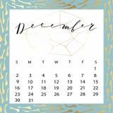 Vector calendar for December 2018. Hand drawn letters for calendar design Stock Photography
