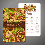 Vector calendar 2017 with decoraive elements. Vector doodle design. Template can be used for web and print design. Royalty Free Stock Photos