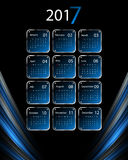 Vector calendar for 2017. 2017 vector calendar design. Colorful lines and metallic frames. Elements for your work. Eps10 Royalty Free Stock Photography