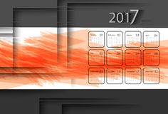 Vector calendar for 2017. 2017 vector calendar design. Colorful paint and geometric shadows. Elements for your work. Eps10 Royalty Free Stock Photos