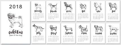 2018 vector calendar design with dogs breeds. Hand drawn llustrations. and calligraphy. 2018 vector calendar design. Hand drawn llustrations with dogs, symbol Stock Image