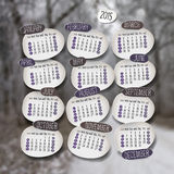 Vector calendar 2015 design. English, Sunday start. Realistic Blurred Winter Landscape Background Stock Images