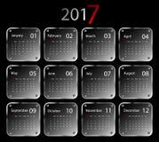 Vector calendar for 2017. 2017 vector calendar design. Metallic frames. Elements for your work. Eps10 Royalty Free Stock Image
