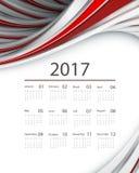 Vector calendar for 2017. 2017 vector calendar design with modern wavy lines. Elements for your work. Eps10 Stock Photos