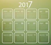 Vector calendar for 2017. 2017 vector calendar design over blured green background. Elements for your work. Eps10 Stock Images