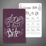 Vector calendar 2017. Design with quote. Love at first bite. Royalty Free Stock Photos