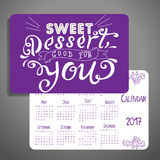 Vector calendar 2017. Design with quote. Sweet dessert good for you Stock Photography