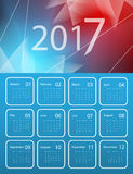 Vector calendar for 2017. 2017 vector calendar design. Red and blue background with geometric shapes. Elements for your work. Eps10 Royalty Free Stock Photography