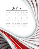 Vector calendar for 2017. 2017 vector calendar design. Wavy bright lines. Elements for your work. Eps10 Royalty Free Stock Images
