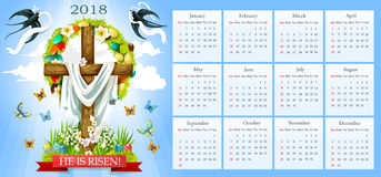 Vector calendar Easter crucifix and paschal eggs. Easter template for 2018 calendar. He is risen poster of crucifix cross and Christ shroud, painted paschal eggs Stock Photography