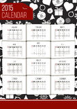 Vector 2015 calendar. Editable 2015 calendar on black-white new year background vector illustration