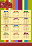 Vector 2015 calendar. Editable funny 2015 calendar on colour striped background Royalty Free Stock Photos