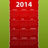 Vector Calendar 2014 Stock Image