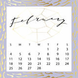Vector calendar for February 2018. Royalty Free Stock Photography