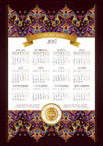 Vector calendar for 2017, floral decor. Royalty Free Stock Images