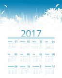 Vector calendar for 2017. Floral 2017 vector calendar design. Elements for your work. Eps10 Royalty Free Stock Image