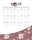 Vector calendar for 2017. 2017 vector floral calendar design. Seamless floral pattern is saved in swatch panel. Elements for your work. Eps10 Stock Photo