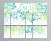 Vector calendar with floral pattern. 2017 Stock Photos
