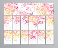 Vector calendar with floral pattern. 2017 Royalty Free Stock Photography