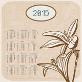 Vector calendar for 2015. Flowers on textured background. Illustration template design - calendar of 2015 with holidays icons. Calendar paper design, Vector Stock Photography