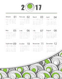Vector calendar for 2017. Futuristic 2017 vector calendar design. Elements for your work. Eps10 Royalty Free Stock Image
