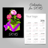 2016 vector calendar and gift box with pink roses. 2016 vector calendar with gift pink roses stock illustration