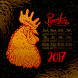 Vector calendar 2017. Golden rooster on a black background - the symbol of the Chinese New year. Vector illustration Stock Illustration