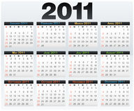 Vector Calendar grid 2011 year english Royalty Free Stock Photos