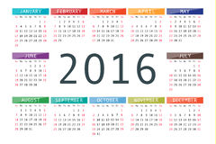 Vector calendar grid for 2016. Rigorous design. 10 eps Stock Illustration