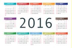 Vector calendar grid for 2016. Rigorous design Stock Photo