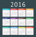 Vector calendar grid for 2016. Rigorous design. 10 eps Royalty Free Illustration