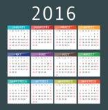 Vector calendar grid for 2016. Rigorous design. Stock Image