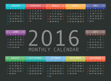 Vector calendar grid for 2016. Rigorous design. 10 eps Royalty Free Stock Photos