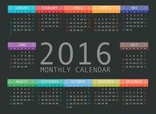 Vector calendar grid for 2016. Rigorous design Royalty Free Stock Photos