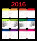 Vector calendar grid for 2016. Rigorous design Stock Images