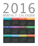 Vector calendar grid for 2016. Rigorous design. 10 eps Stock Images