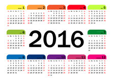 Vector calendar grid for 2016. Rigorous design Royalty Free Stock Image