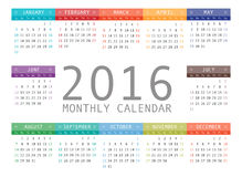 Vector calendar grid for 2016. Rigorous design. 10 eps Royalty Free Stock Image