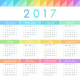 Vector calendar grid. 2017 calendar grid, vector template with geometric elements Royalty Free Stock Photo