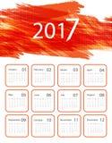Vector calendar for 2017. Grungy bright 2017 vector calendar design. Elements for your work. Eps10 Royalty Free Stock Photo