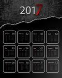 Vector calendar for 2017. 2017 vector calendar grungy design. Elements for your work. Eps10 Royalty Free Stock Photography