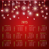 Vector calendar for 2015. Happy New Year. Christmas background with snowflakes and Christmas trees. llustration template design - calendar of 2015 with Stock Photo