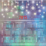 Vector calendar for 2015. Happy New Year. Christmas background with snowflakes and Christmas trees. llustration template design - calendar of 2015 with Stock Photos