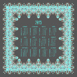 Vector calendar for 2015. Happy New Year. Llustration template design - calendar of 2015 with holidays icons. Calendar paper design, Vector illustration Stock Photo