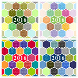 Vector 2015 calendar. With hexagonal honeycomb shape vector illustration