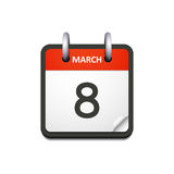 Vector calendar icon with 8 march date. Isolated on white Royalty Free Stock Photography