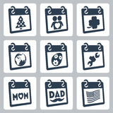 Vector calendar icons representing holidays Stock Image