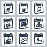 Vector calendar icons representing holidays. The Knowledge Day, Oktoberfest, International Woman's Day, Columbus Day, Halloween, Thanksgiving Day, birthday Royalty Free Stock Photography