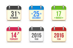 Vector calendar icons set for holidays Royalty Free Stock Photography